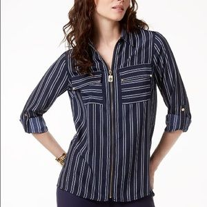 Michael Kors petite zipper front blouse